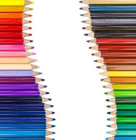 Color pencil in row Stock Photo