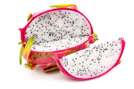 Fresh dragon fruit  and slice on white background