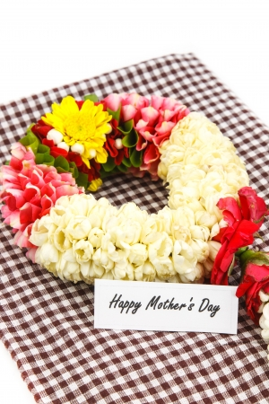Flower wreath  for mother on Mothers Day with note photo