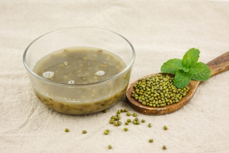 green bean: Dessert from mung bean in bowl Stock Photo