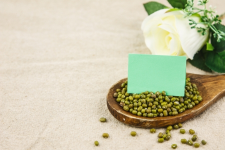 Mung bean with blank notepaper