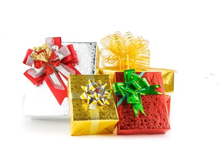Heap of gift boxs on white background for Christmaxs day Stock Photo