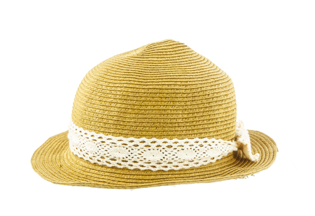 brim: Brown weave hat on whiite background