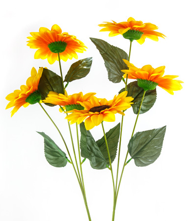 artificial sunflowers isolated on white for decorate photo
