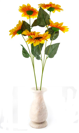 Artificial sunflowers in vase isolated on white for decorate