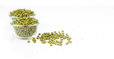 cip: Cip of raw mung bean on white background
