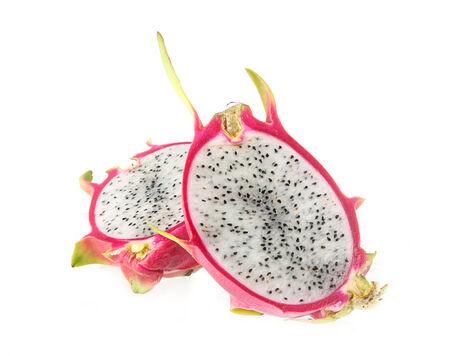 brit: Fresh dragon fruit - Hylocercus undatus (Haw) Brit. & Rose  on white background