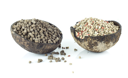 chemical fertilizer: Chemical fertilizer and natural fertilizer  for plant on white background