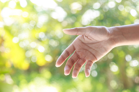 social care: Helping hands  against bright nature background Stock Photo