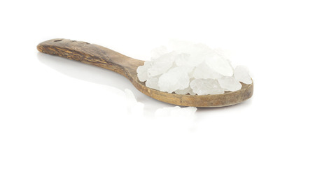 crystalline: Heap of white crystalline sugar on white background