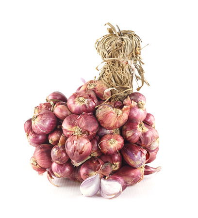 flavorings: Bunch of fresh shallots on white background