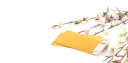 Chinese new year - Money in golden envelope on white Stock Photo