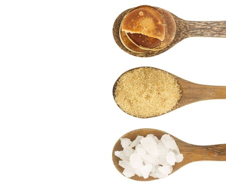 crystaline: Many sugar - crystaline,coconut,palm sugar on white background