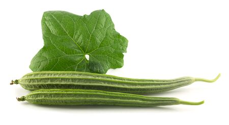 Fresh angled gourd - vegetable with leaf on white background