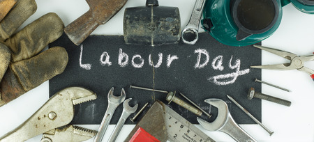 Labour day background - top view of many tools