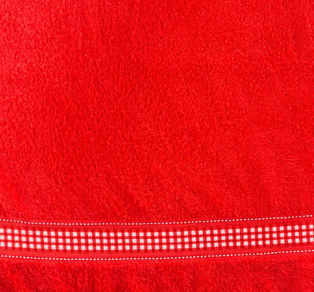 Top view of red towel - cloth texture