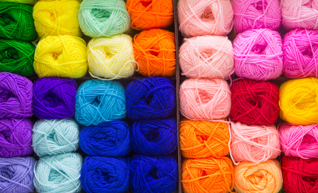 colorful: Colorful knitting wools arrange in row