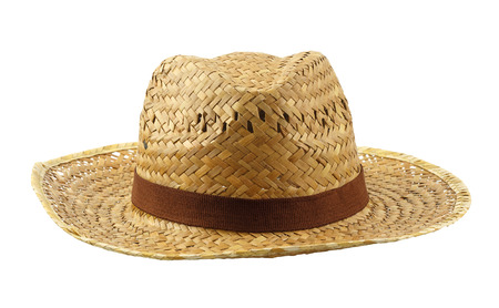 Brown weave hat - summer accessory isolated on white background