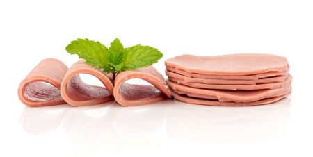 bologna baloney: Delicious baloney sausage - food  on white background