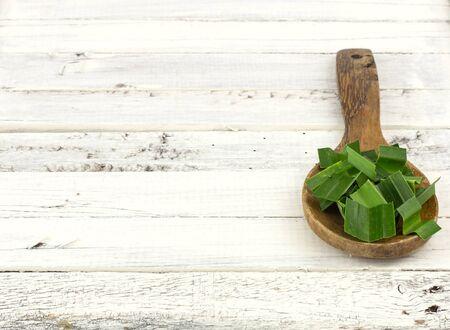 pandanus: Fresh fragrant pandan - foodingredient on white wood  background