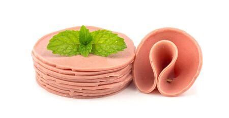 bologna baloney: Raw fresh baloney sausage - food  on white background