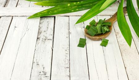 pandan: Fresh fragrant pandan - foodingredient on white background Stock Photo
