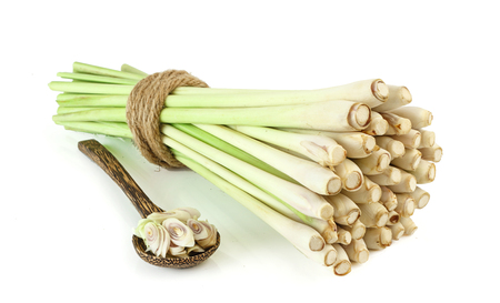 Group of fresh lemongrass - tropical herb  on white background Stock Photo - 62373836