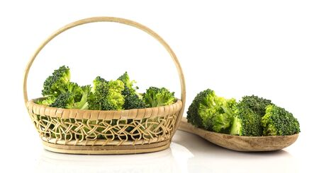 Group of fresh broccoli fro cook on white background