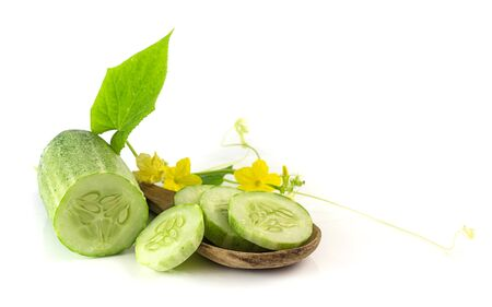 Fresh sliced cucumbers,leaf and flower on white background