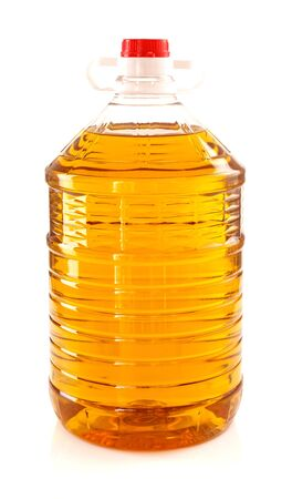 Bottle of palm oil for cokking isolated on white background