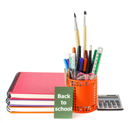 Back to school - group of colorful  stationery tools on white background Stock Photo