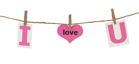 Valentine day - pink text  I love you hang on rope