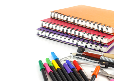 Group of colorful  stationery tools on white background