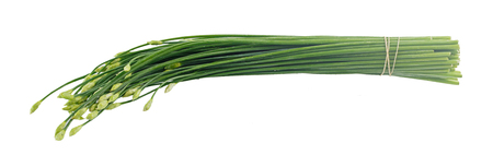 Group of fresh Chinese chives flower isolated on white