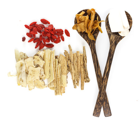 Top view of chinese herbals medicine on white background Banque d'images