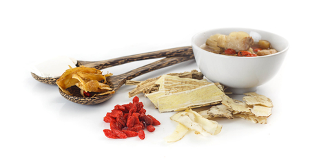 Chinese food - Clear soup with chinese herbal medicine on white background