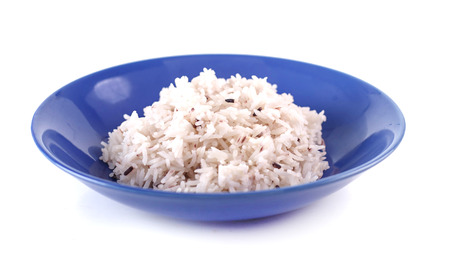 Dish of cooked jasmine rice  and riceberry on white Stock Photo