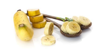 Group of fresh ripe banana on white background Banque d'images