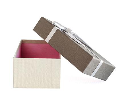 Luxury  and beautiful grey giftbox open on white
