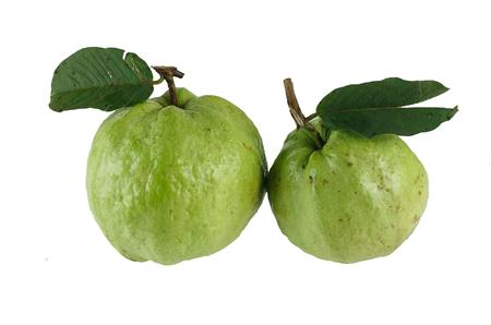 Fresh guavas - tropical fruit isolated on white background