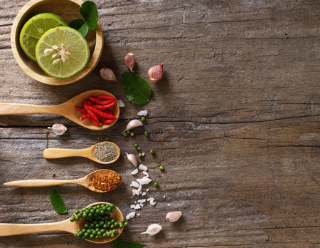 Top view of spicy food on wooden with space as food background Banque d'images
