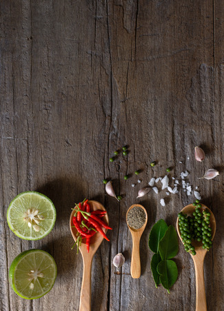 Hot and spicy food on plank board with space as food background Banque d'images