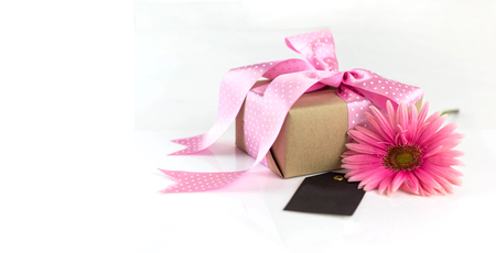 Beautiful giftbox ,pink flower and card for best mom Stok Fotoğraf