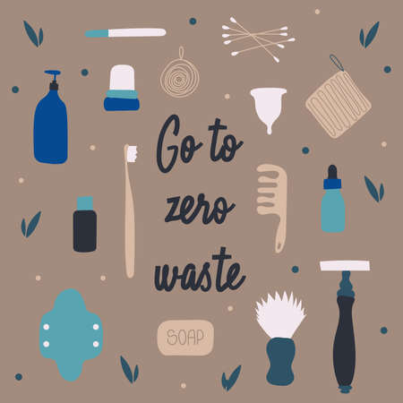 The set of items for the bathroom, zero waste. Reusable facilities to keep the environment clean and reduce pollution. Eco lifestyle product icons for stores, shop, website. Vector Illustration