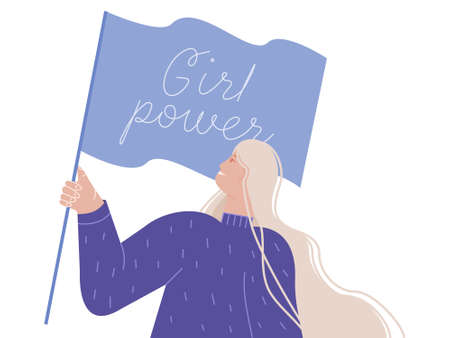 A feminist girl holds a flag that says girl power. Vector illustration of a feminist movement, the concept for prints, t-shirts, greeting cards, happy girl with a banner.
