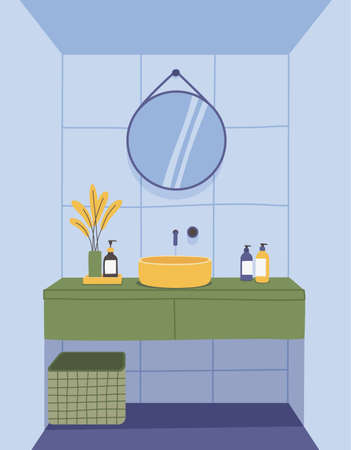 Vector interior design of a modern bathroom. Furniture, equipment and decor. Sink, mirror, hygiene items, flower in a vase, Laundry basket. illustration in flat style