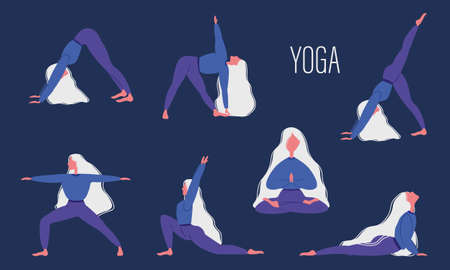 Women s yoga, a set of different poses of physical exercises. The girl is engaged in yoga. Vector illustration.