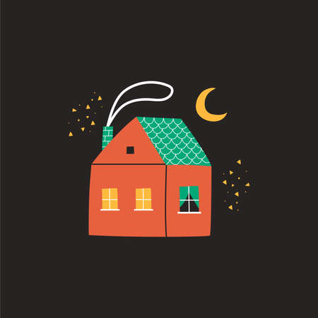 Cute cartoon house with smoke from the pipe. Night landscape, moon and stars. Flat vector illustration,  sticker, poster. Vettoriali