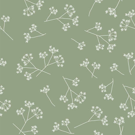 Seamless pattern with dill flowers and twigs. Simple flat vector illustration in a minimalistic style.White flowers on a green background. Poster, background, printing on textiles
