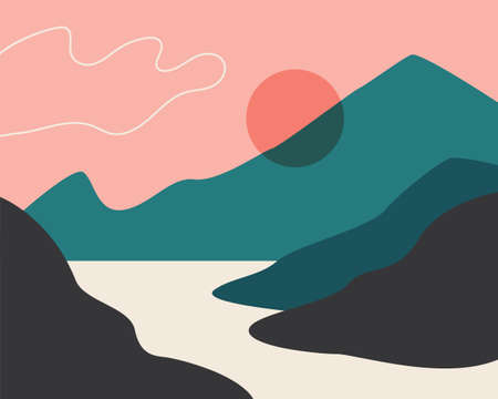 Abstract landscape. Sun, mountains, clouds. Japanese motives. Asian design. Background with space for text, vector illustration banner poster Çizim